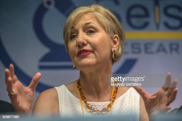 Glenda Gray president of the country's Medical Research Council speaks to the press on on November 30 2016 in Shoshaguve near Pretoria as South...