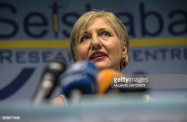 Glenda Gray president of the country's Medical Research Council speaks to the press on November 30 2016 in Shoshaguve near Pretoria as South Africa...