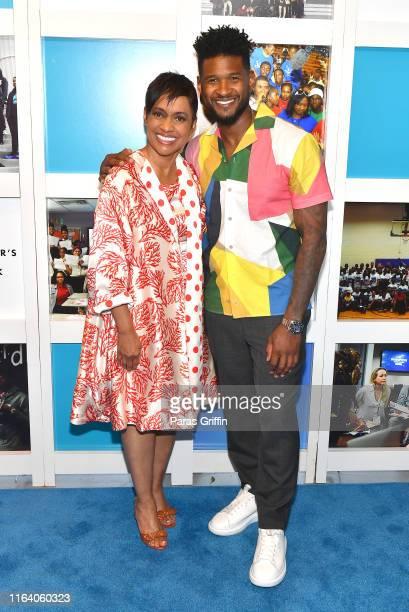 Glenda Hatchett and Usher attend Usher New Look Foundation Summit 20th Anniversary VIP Fundraiser at The Gathering Spot on July 24 2019 in Atlanta...