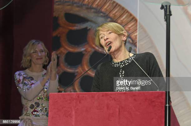 Glenda Jackson accepts the Natasha Richardson Award for Best Actress from Cate Blanchett attends the London Evening Standard Theatre Awards 2017 at...