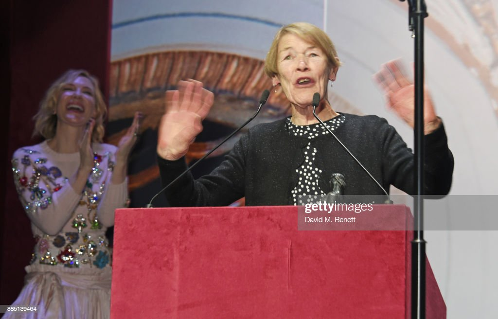 Glenda Jackson (R) accepts the Natasha Richardson Award for Best Actress from Cate Blanchett attends the London Evening Standard Theatre Awards 2017 at the Theatre Royal, Drury Lane, on December 3, 2017 in London, England.