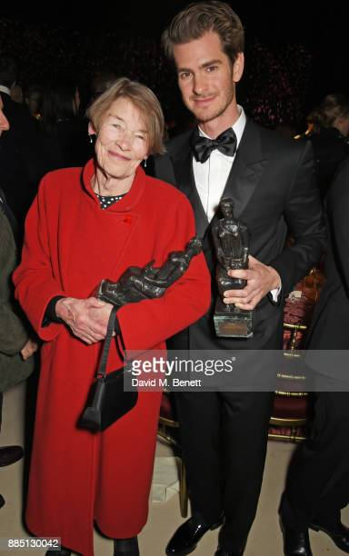 Glenda Jackson and Andrew Garfield attend the London Evening Standard Theatre Awards 2017 after party at the Theatre Royal Drury Lane on December 3...