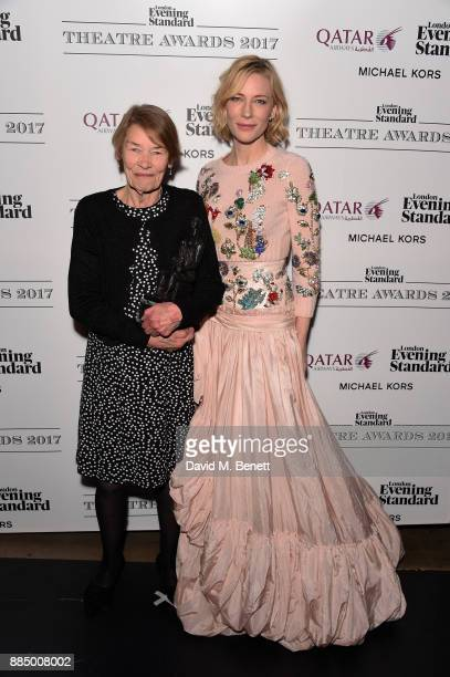 Glenda Jackson and Cate Blanchett pose at the London Evening Standard Theatre Awards 2017 at the Theatre Royal Drury Lane on December 3 2017 in...