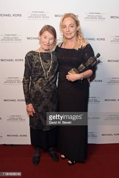 Glenda Jackson and Irina Brook on behalf of Peter Brook winner of Lebedev Award for contribution to theatre award pose in the winners room at the...