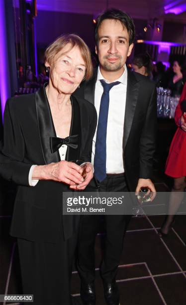 Glenda Jackson and LinManuel Miranda attend The Olivier Awards 2017 after party at Rosewood London on April 9 2017 in London England