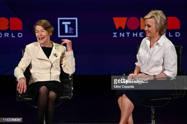 Glenda Jackson and Tina Brown speak during the 10th Anniversary Women In The World Summit at David H Koch Theater at Lincoln Center on April 12 2019...