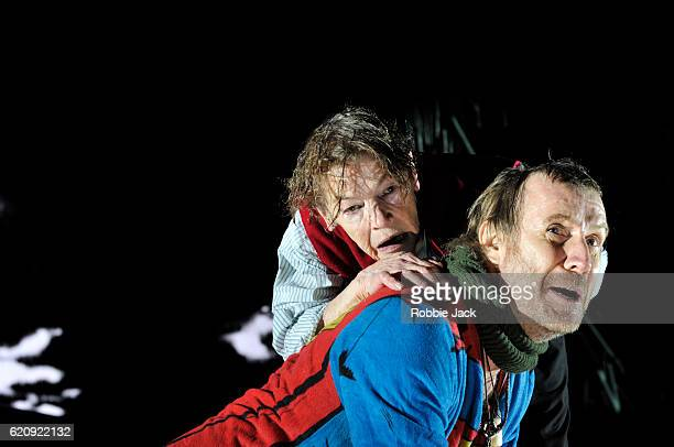 Glenda Jackson as King Lear and Rhys Ifans as Fool in William Shakespeare's King Lear directed by Deborah Warner at the Old Vic Theatre on November 2...