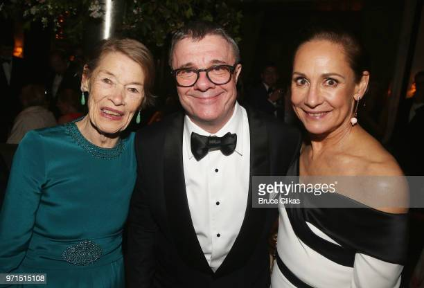 Glenda Jackson Nathan Lane and Laurie Metcalf pose at the 2018 OM Private Tony After Party at The Carlysle Hotel on June 10 2018 in New York City