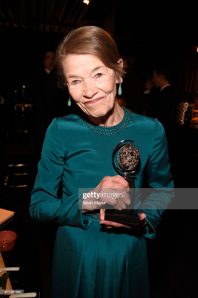 Glenda Jackson poses with award for Best Performance by an Actress in a Leading Role in a Play for ?Edward Albee's Three Tall Women,? backstage during the 72nd Annual Tony Awards at Radio City Music Hall on June 10, 2018 in New York City.