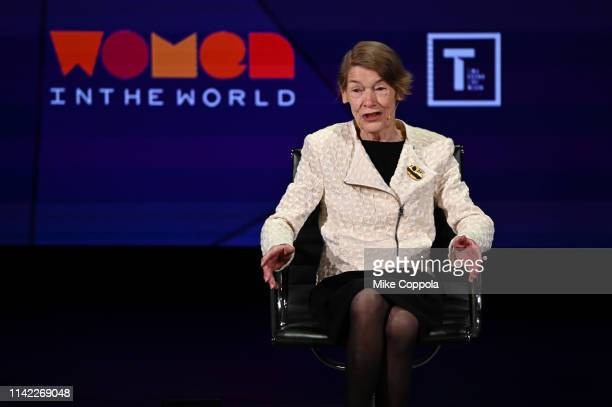 Glenda Jackson speaks during the 10th Anniversary Women In The World Summit at David H Koch Theater at Lincoln Center on April 12 2019 in New York...