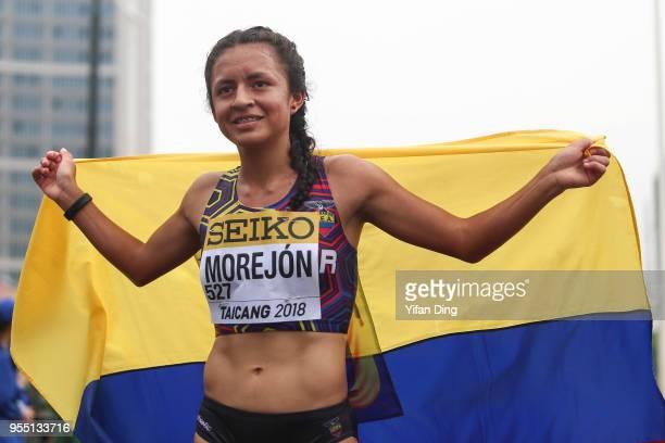 Glenda Morejon of Ecuador celebrates after finishing as runnerup Women's 10 kilometres Race Walk of IAAF World Race Walking Team Championships...