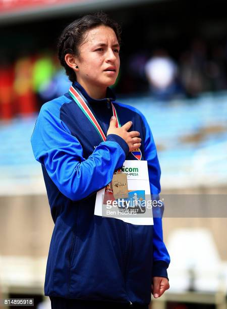 Glenda Morejon of Ecuador with her gold medal following the final of the girls 5000m walk on day four of the IAAF U18 World Championships at the...