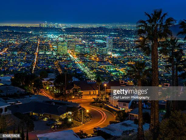 Glendale and Los Angeles Skylines At Night