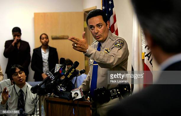 Glendale, Ca. – California Highway Patrol assistant chief Art Acevedo addresses questions from reporters about a recent rash of freeway shootings...