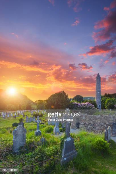 Glendalough monastic site with the round tower and cemetery in County Wicklow, Ireland