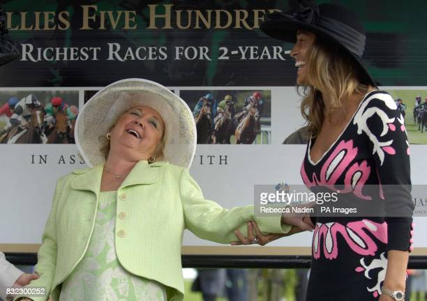 Glendryth Woosnam wife of European Ryder Cup Captain Ian shares a joke with Melissa wife of USA Ryder Cup captain Tom Lehmanat the Curragh Racecourse