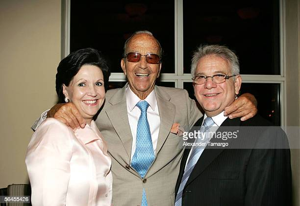 Glendys Villar, Dr. Julio Iglesias Puga, Santiago Villar pose at Carlos Iglesias' 60th birthday celebration on April 30, 2005 at the Ocean Club in...