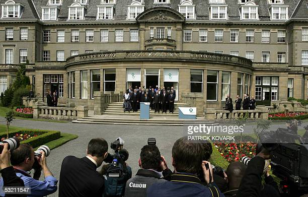 Gleneagles, United Kingdom: G8 and African leaders stand on the steps of Gleneagles hotel for the family photo of the a G8 summit 08 July 2005, in...