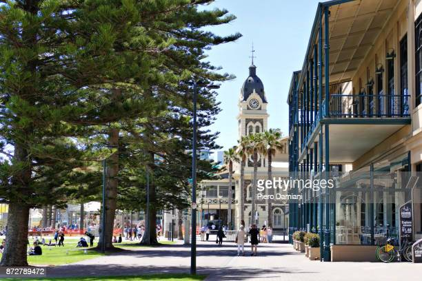 glenelg street scene - adelaide stock pictures, royalty-free photos & images
