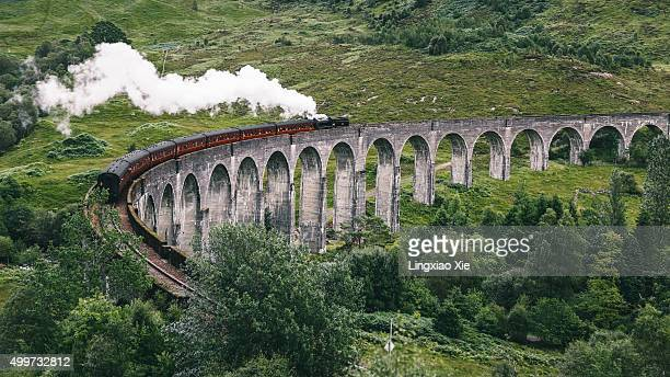 glenfinnan railway viaduct, highland, scotland - mallaig stock photos and pictures