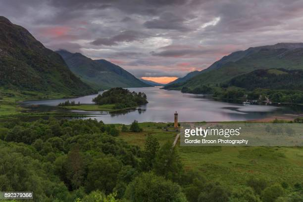 a glenfinnan sunset. - mallaig stock photos and pictures