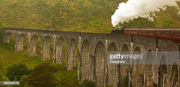 glenfinnan viaduct and steam train - mallaig stock photos and pictures