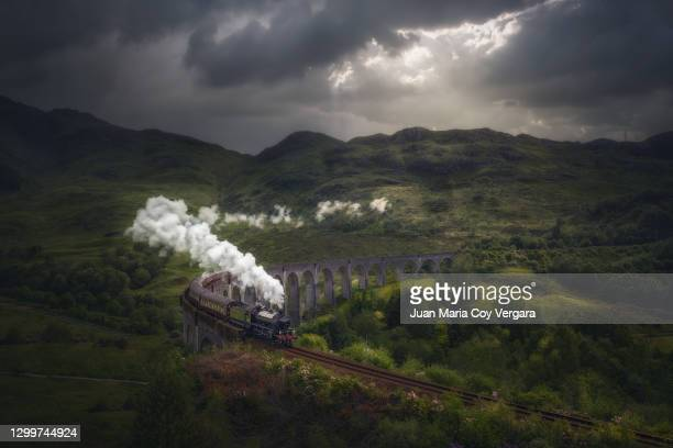train on glenfinnan viaduct (scotland, united kingdom) - west indies stock pictures, royalty-free photos & images