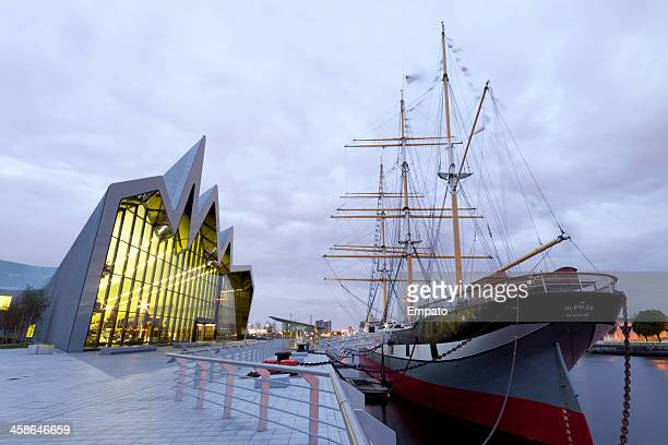 glenlee tallship outside riverside museum, glasgow - pirate ship stock photos and pictures