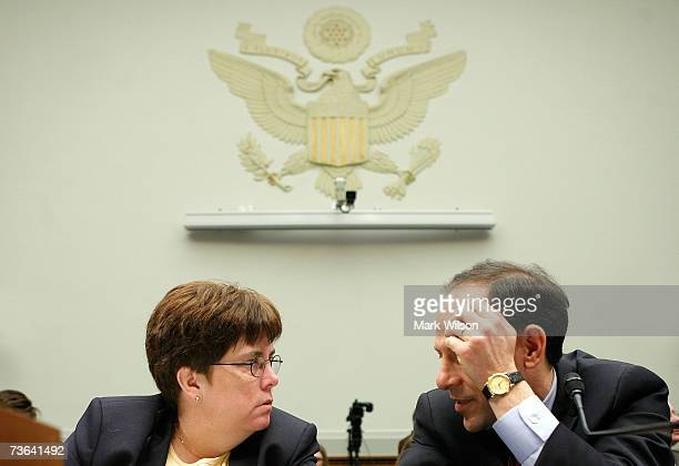 Glenn A Fine Inspector General of the US Department of Justice talks with Valerie Caproni General Councel of the FBI before the start of a House...