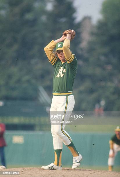 Glenn Abbott of the Oakland Athletics pitches against the Baltimore Orioles during an Major League Baseball game circa 1976 at Memorial Stadium in...