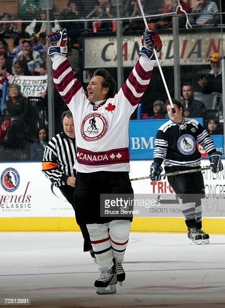 Glenn Anderson of Team Canada celebrates his goal against Team World during the Hockey Hall of Fame Legends Classic game at the Air Canada Centre...