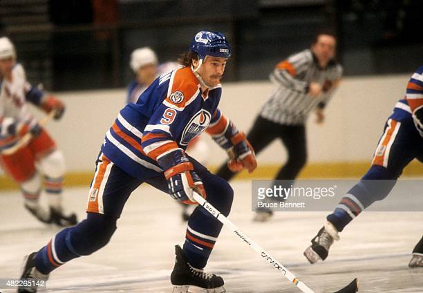 Glenn Anderson of the Edmonton Oilers skates on the ice during an NHL game against the New York Rangers on November 15 1981 at the Madison Square...