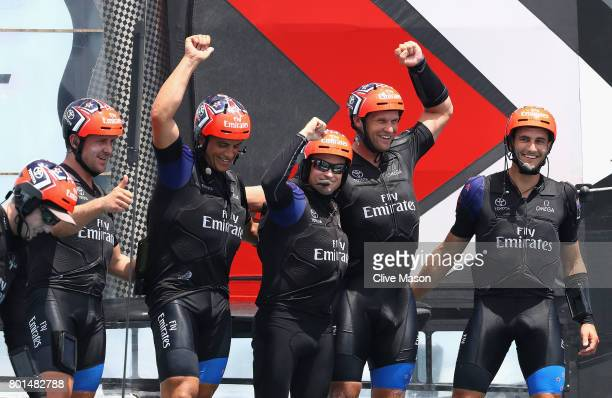 Glenn Ashby skipper of Emirates Team New Zealand celebrates as Emirates Team New Zealand win race 9 against Oracle Team USA to win the America's Cup...