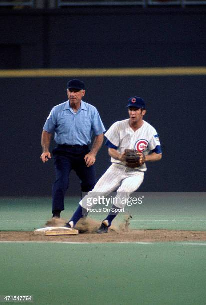 Glenn Beckert of the Chicago Cubs of the National League AllStars looks to take the throw down at second base against the American League during...