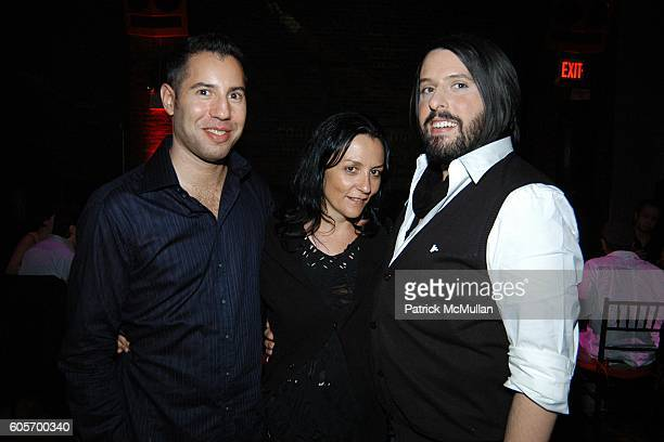 Glenn Belverio Kelly Cutrone and Thomas Onorato attend Confessions from the Velvet Ropes Dinner at SOL on July 11 2006 in New York City