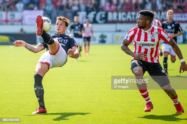 Glenn Bijl of FC Emmen Fred Friday of Sparta Rotterdam during the Dutch Jupiler League playoffs final match between Sparta Rotterdam and FC Emmen at...