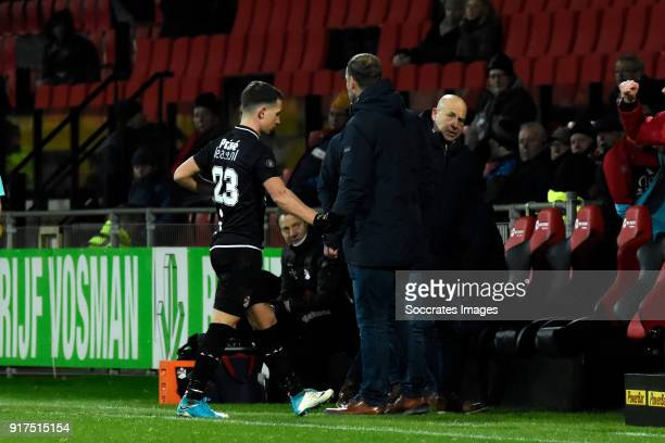 Glenn Bijl of FC Emmen is leaving the pitch after receiving a red card during the Dutch Jupiler League match between Go Ahead Eagles v FC Emmen at...