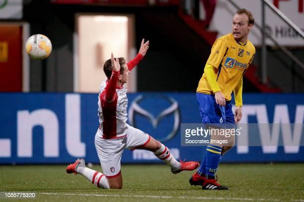 Glenn Bijl of FC Emmen Ron Scheffer of Odin 59 during the Dutch KNVB Beker match between FC Emmen v ODIN 59 at the De JENS Vesting on October 31 2018...