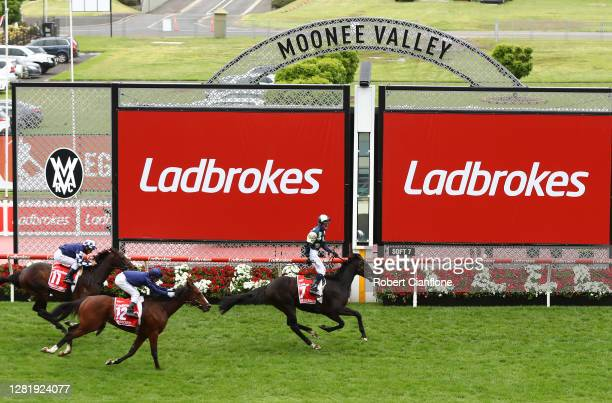Glenn Boss riding Sir Dragonet wins race nine the Ladbrokes Cox Plateduring Melbourne Racing Cox Plate Day at Moonee Valley Racecourse on October 24,...