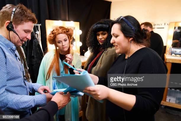 Glenn Clements and Nedaa Sweiss review the script with Reese Witherspoon and Mindy Kaling during The Late Late Show with James Corden Monday March 12...