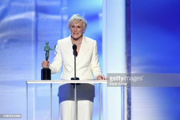 "Glenn Close accepts Outstanding Performance by a Female Actor in a Leading Role for ""The Wife"" onstage during the 25th Annual Screen Actors Guild..."