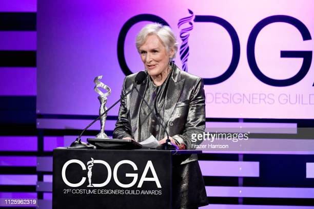 Glenn Close accepts the Spotlight Award onstage during The 21st CDGA at The Beverly Hilton Hotel on February 19 2019 in Beverly Hills California