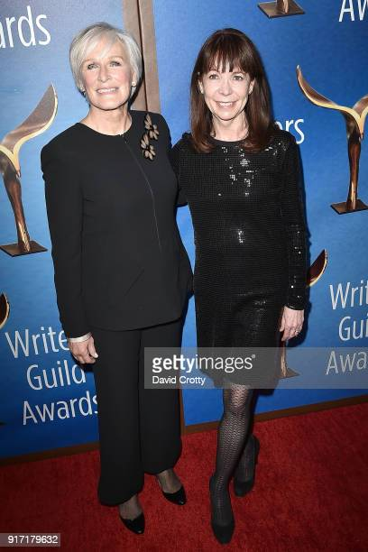 Glenn Close and Alison Cross attend the 2018 Writers Guild Awards LA Ceremony at The Beverly Hilton Hotel on February 11 2018 in Beverly Hills...