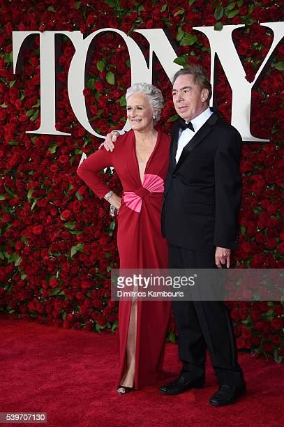 Glenn Close and Andrew Lloyd Webber attend the 70th Annual Tony Awards at The Beacon Theatre on June 12 2016 in New York City