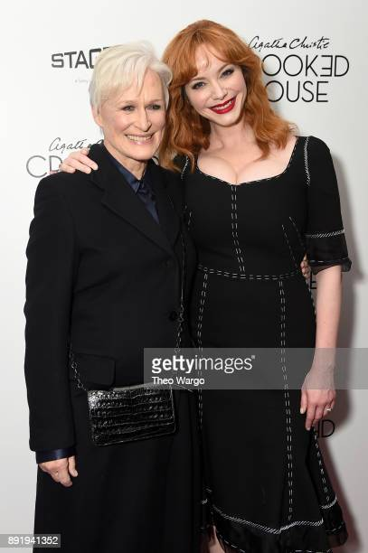 Glenn Close and Christina Hendricks attends the 'Crooked House' New York Premiere at Metrograph on December 13 2017 in New York City