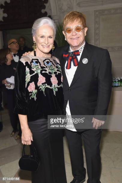 Glenn Close and Elton John attend the Elton John AIDS Foundation Commemorates Its 25th Year And Honors Founder Sir Elton John During New York Fall...