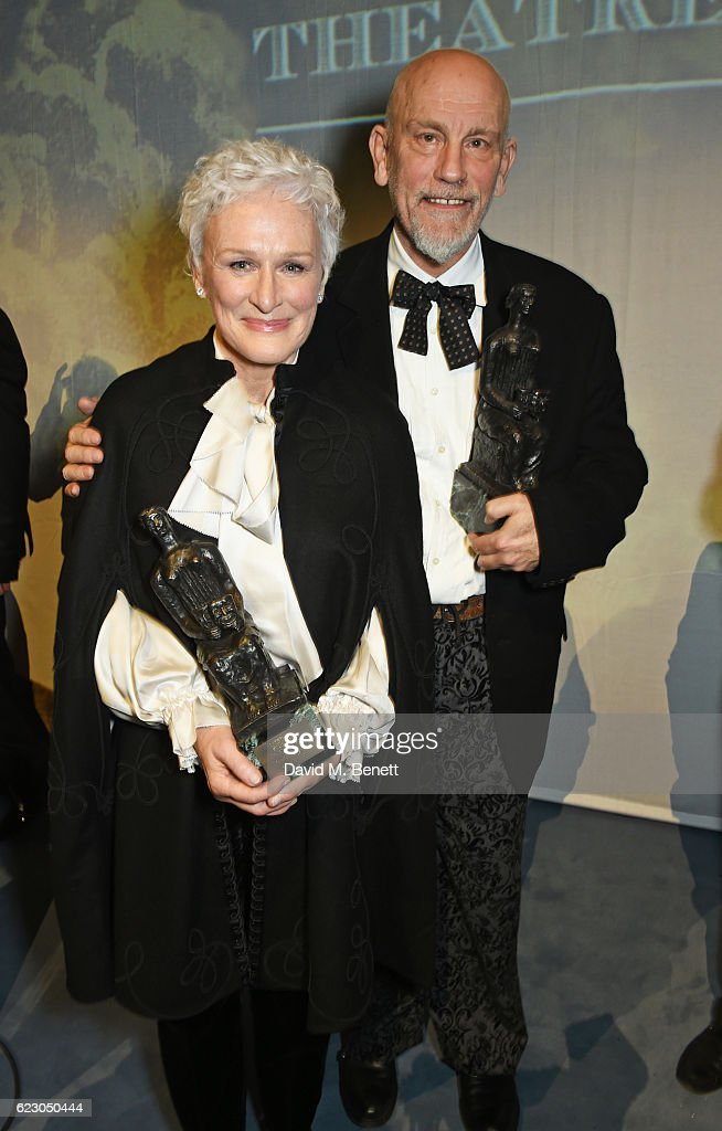 Glenn Close (L) and John Malkovich attend The 62nd London Evening Standard Theatre Awards after party, recognising excellence from across the world of theatre and beyond, at The Old Vic Theatre on November 13, 2016 in London, England.