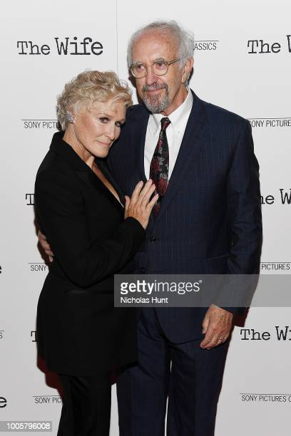 Glenn Close and Jonathan Pryce attend the New York Screening of 'The Wife' at The Paley Center for Media on July 26 2018 in New York City