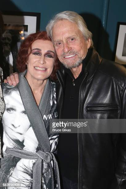 Glenn Close and Michael Douglas pose backstage at the hit musical 'Sunset Boulevard' on Broadway at The Palace Theater on February 22 2017 in New...