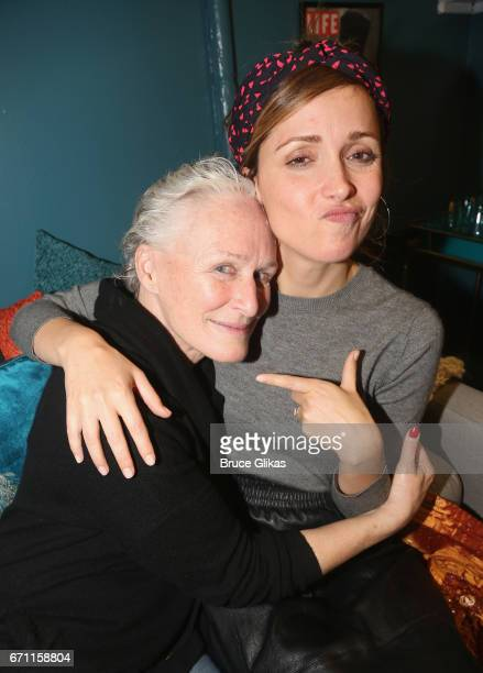 Glenn Close and Rose Byrne pose backstage at the hit musical 'Sunset Boulevard' on Broadway at The Palace Theatre on April 20 2017 in New York City